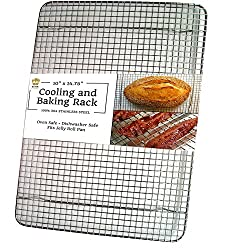 Ultra Cuisine Heavy Duty Stainless Steel Cooling And Baking Rack Fits Jelly Roll Sheet Pan Cool Cookies Cakes Bread Oven Safe Wire Grid For Roasting Cooking Grilling Barbecue 10 X 14 75