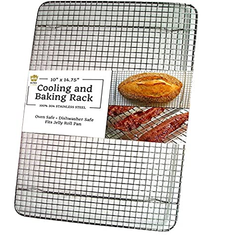 Ultra Cuisine Stainless Steel Cooling Rack for Baking fits Jelly Roll Sheet Pan - Heavy Duty Wire Grid for Cookies, Cakes and Bread - Oven Safe for Roasting, Cooking, Grilling, Drying (10