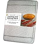 """Cooling, Baking & Roasting Wire Racks for Sheet Pans - 100% Stainless Steel Metal Racks for Cooking - Dishwasher Safe, Rust Resistant, Heavy Duty 6 COMMERCIAL GRADE 304 (18/8) STAINLESS STEEL COOLING RACK offers superior rust resistance and long-lasting quality FITS LARGE 13""""x18"""" BAKING & COOKIE SHEETS perfectly inside the food pan HEAVY DUTY WIRE GRID WITH 3 SUPPORT CROSS BARS create a raised design for best air circulation"""