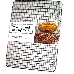 Ultra Cuisine 100% Stainless Steel Thick Wire Cooling & Baking Rack fits Quarter Sheet Pan, Oven Safe Heavy Duty Commercial Quality for Roasting, Cooking, Grilling, Drying (8.5″ x 12″)