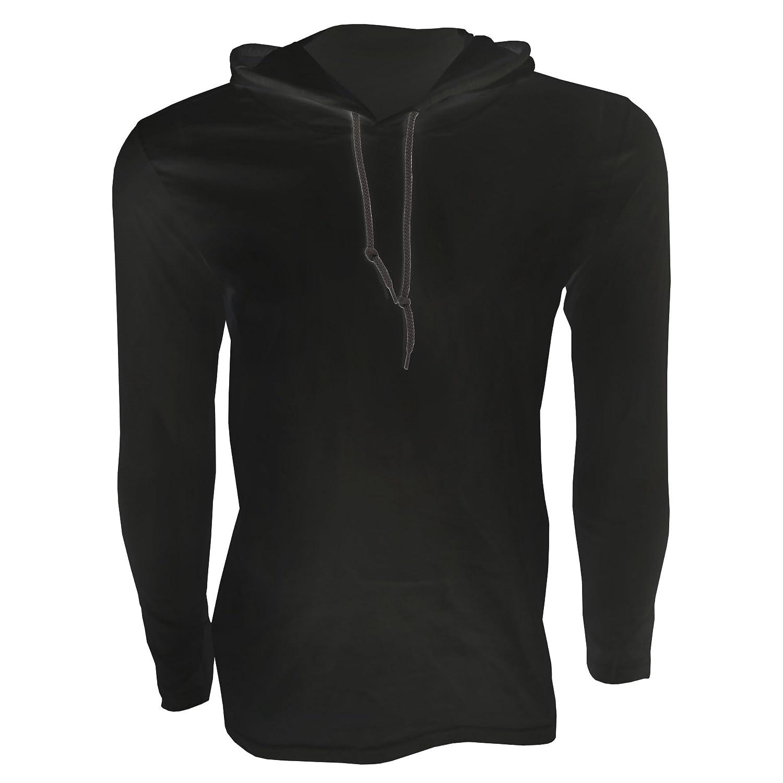 Amazon.com: Anvil Mens Fashion Plain Long Sleeve Hooded T-Shirt ...