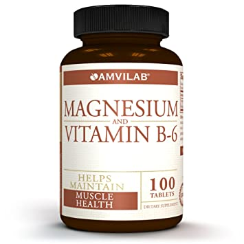Amvilab Magnesium and Vitamin B6-Promotes Bone Mineralization, Helps to Support Nerve and Muscle