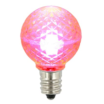vco pack of 25 led g30 pink replacement christmas light bulbs