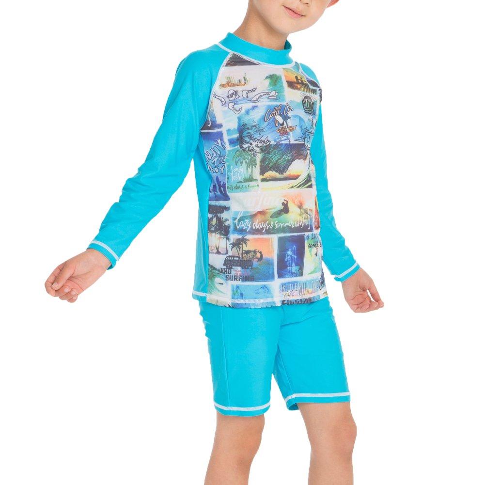 Monvecle Boys 2-Piece Short Sleeve Rashguard Swimming Tee Trunk Set Sunsuit UPF 50+