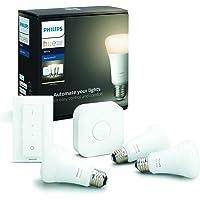 Philips Hue Starterkit - 3 Lampen - E27 - Duurzame LED Verlichting - Warmwit Licht - Incl. Hue Bridge en dimmer switch…