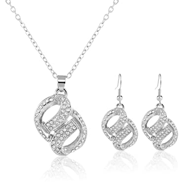 d071b8c17b6 2 Pc  Parure Bijoux 2016 Neuf Femme Plein de Diamants Pois Collier et  Boucles d