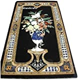 48'' x 24'' Rectangle Black Marble Sofa Table Top Luxury Flower Art Inlay Floral Design