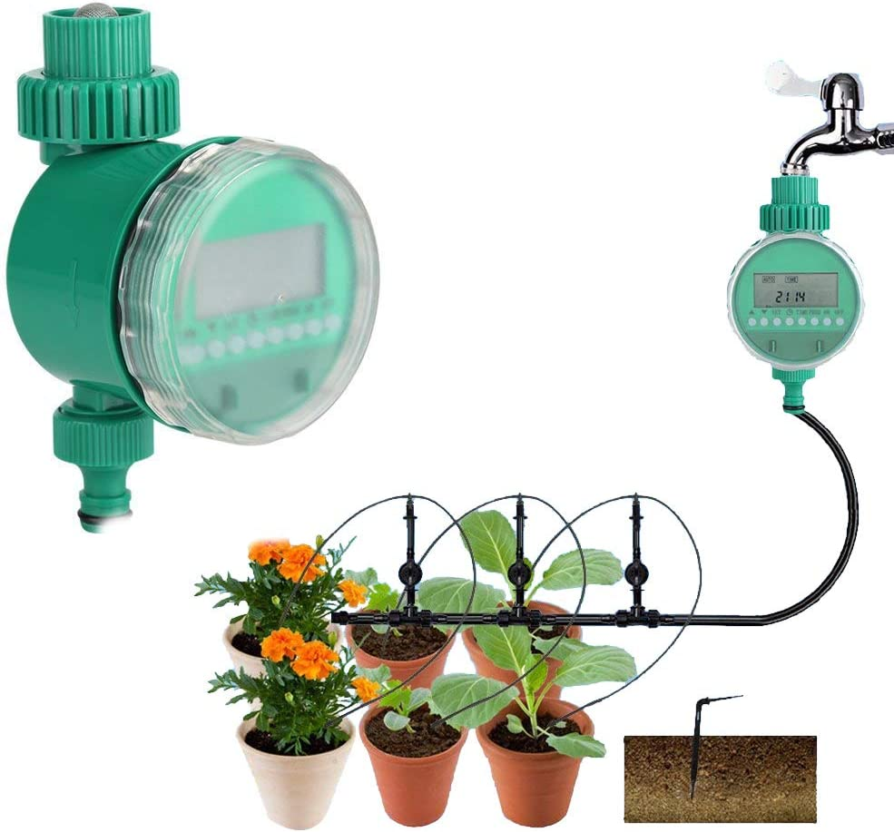 Garden Water Timer,Automatic Electric Digital Garden Irrigation Timer Flowers Watering System Intelligent Watering Controller