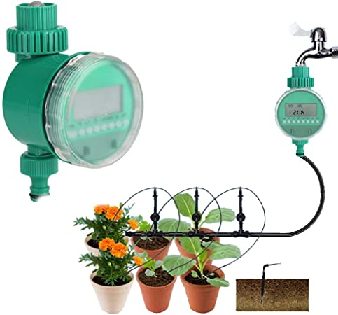 TiooDre Water Timer Thread Automatic Irrigation Timer with LCD Display Digital Watering Timer Automatic Irrigate for Garden Greenhouse Plant Grass