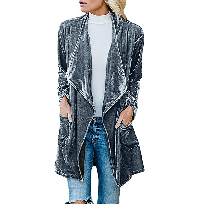 dd84a11b460ca Amazon.com  Orangeskycn Women Cardigan Drape Velvet Long Baggy Jacket Open  Front Coat with Pockets  Clothing
