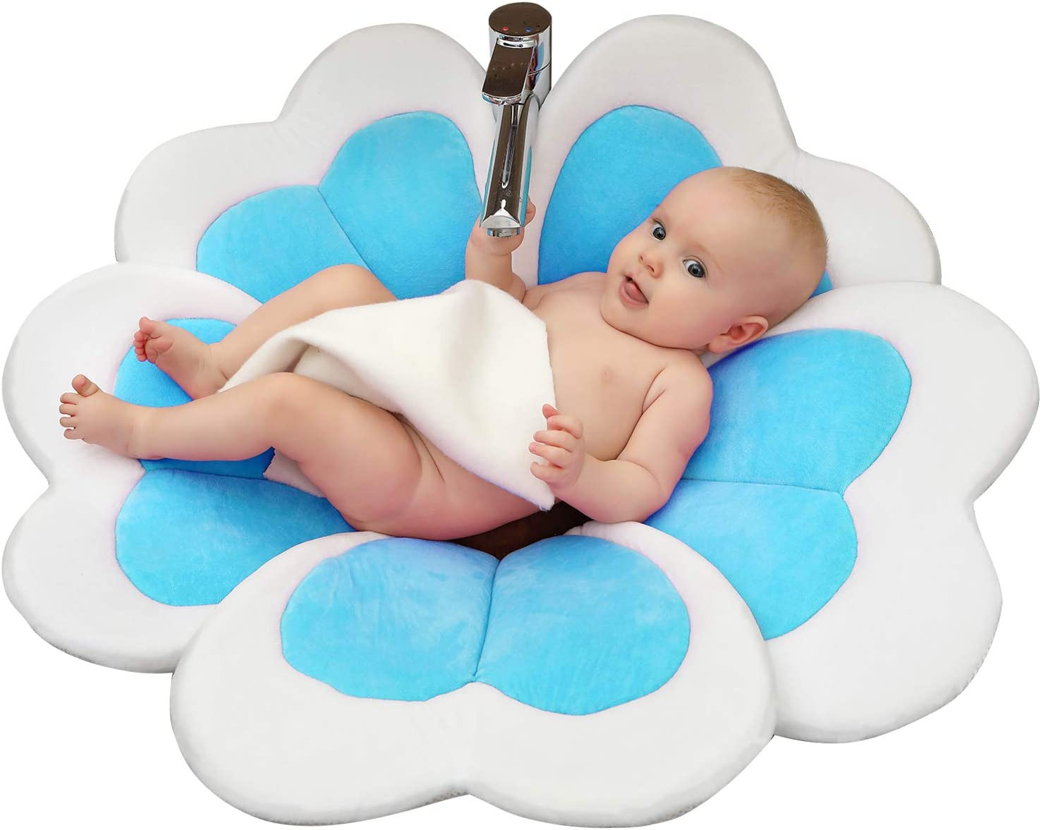 Blue KAKIBLIN Flower Baby Bath Comfort Baby Bath Pad for 0-6 Months Baby Bath Support Lounger