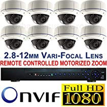 USG 2015 Model 1080P HD IP CCTV Kit With Motorized Zoom Cameras: 1x 24 Channel NVR + 8x 1080P 2.8-12mm PoE IP Dome Cameras + 1x 3TB HDD *** High Definition CCTV Video Surveillance