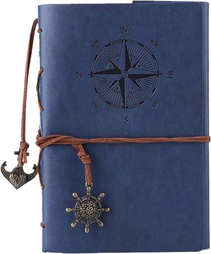 carnet /à spirales rechargeable Maleden rechargeable Journal de voyage en relief classique avec pages vierges et pendentifs vintage rouge vin Journal en cuir ordinateur portable