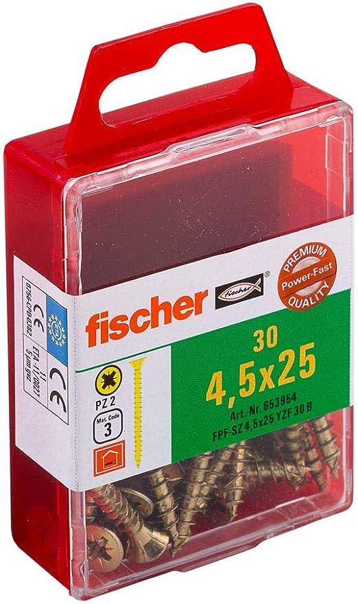 Spanplattenschrauben mit Senkkopf und Vollgewinde zur Befestigung von d/ünnen Bauteilen in Holzwerkstoffen 30 St/ück Art.-Nr 653952 fischer Power-Fast FPF-SZ 4,5 x 16 YZF 30 B