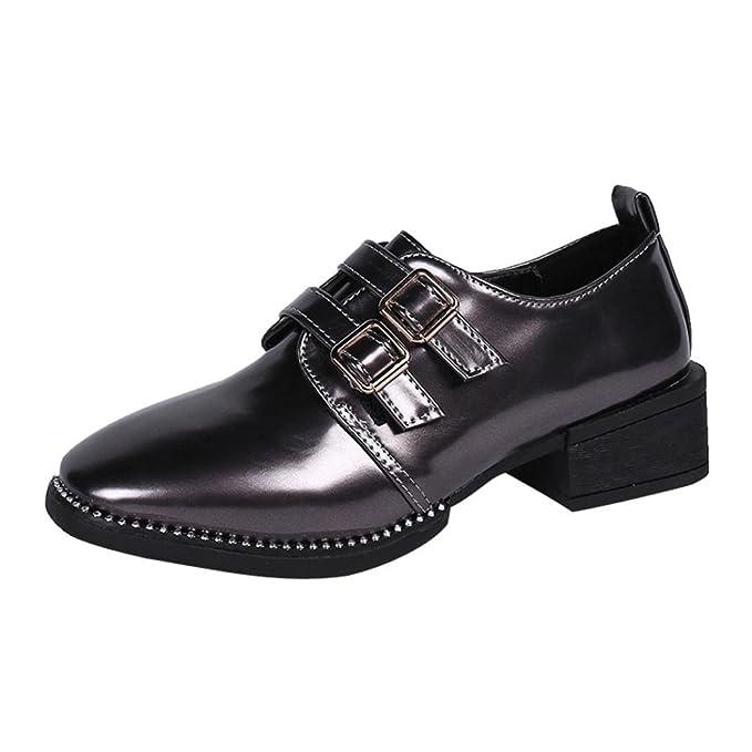 Calzado informal mujer, Covermason Moda mujeres punta cuadrada plana Slip-on Boots Casual charol Martin zapatos: Amazon.es: Ropa y accesorios