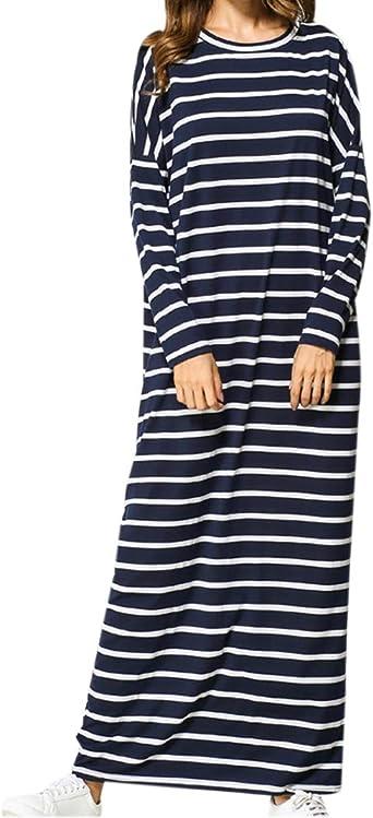 VONDA Damen Mittelalter Kleid Kaftan Langarm Kleidung Boho Kleider Lange Gr/ö/ße Maxikleid
