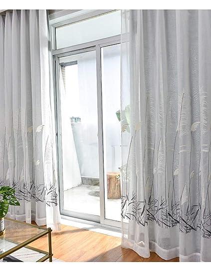 Lactraum Gardinen Wohnzimmer Transparent Weiß mit Ösen Bestickt Schilf  Voile 145 x 245cm