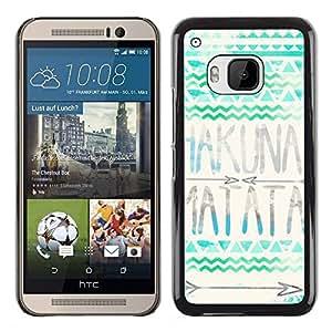 TopCaseStore / la caja del caucho duro de la cubierta de protección de la piel - Hakuna Matata Blue Green Polygon Pattern - HTC One M9