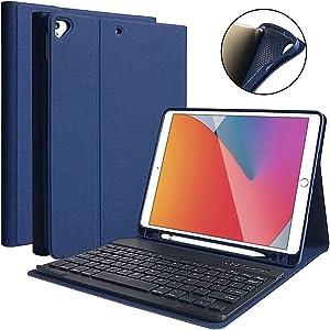 "iPad 8th Generation 2020 Case with Keyboard 10.2"", iPad 7th Gen 2019/iPad Air 3/iPad Pro 10.5 Keyboard Case, Detachable Wireless Bluetooth Keyboard with Pencil Holder for iPad 8th/7th Gen 10.2 Inch"