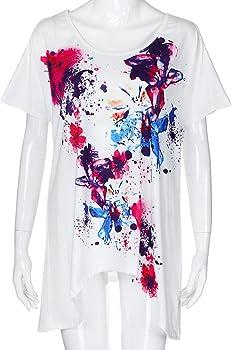 FAMILIZO_Camisetas Mujer Verano Blusa Mujer Elegante Camisetas Mujer Manga Corta Algodón Camiseta Mujer Camisetas Mujer Fiesta Camisetas Sin Hombros Mujer Camisetas Mujer Tallas Grandes (XL, Blanco): Amazon.es: Ropa y accesorios