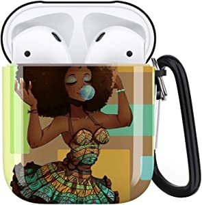 African Girl Airpods Case Cover Personalized,Durable Airpods Accessories for Apple Airpods Charging Case 2&1,Shockproof Drop Proof Protective Case Cover with Keychain/Neck Running Strap