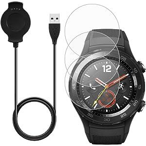 AFUNTA Cargador & -3 Pcs Protector de Pantalla para Huawei Smart Watch 2, Reemplazo