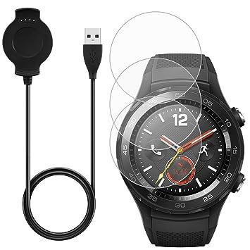 AFUNTA Cargador & -3 Pcs Protector de Pantalla para Huawei Smart Watch 2, Reemplazo Cargador Cable Base con Repuesto Vidrio Templado Antiarañazos ...