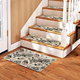 Soloom Non Slip Stair Treads Carpet Set of 13(26''x10'')Plus a Matching Landing Mat(2'x3')Blended Jacquard Indoor Skid Resistant Stair Tread Rugs Rubber Backing,Beige