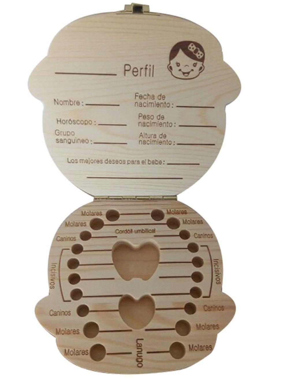Xuxuou Madera Caja Almacenamiento de Dientes Leches Caja de Recién Nacidos Recuerdo para Niños Niñas Bebé Español 1pc (Niña)
