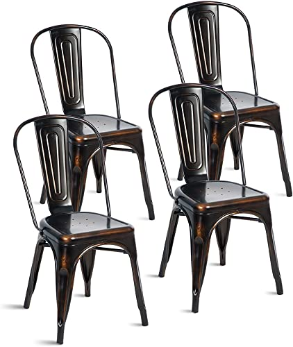 Merax PP035984 Indoor-Outdoor Use Tolix Style Distressed Metal Bistro A Dining Stackable Highback Chic Cafe Side Chair