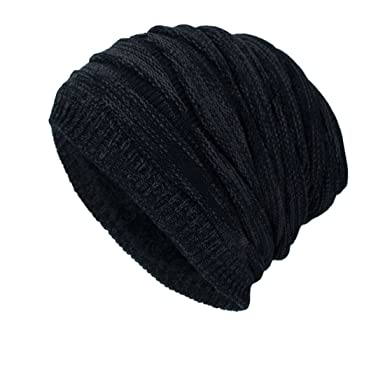 31b908d822b DD UP Winter Beanie Hat Men Warm Knit Long Slouch Skull Cap Thermal with  Soft Fleece Lining  Amazon.co.uk  Clothing