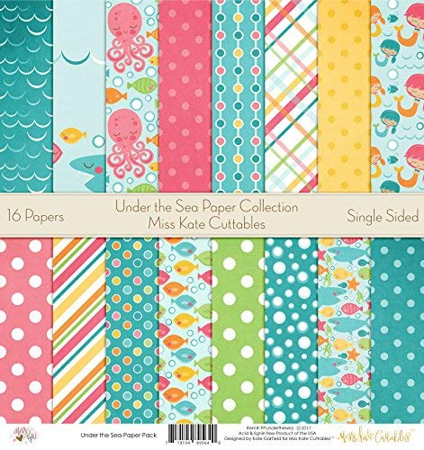 Pattern Paper Pack - Under The Sea - Scrapbook Premium Specialty Paper Single-Sided 12x12 Collection Includes 16 Sheets - by Miss Kate Cuttables