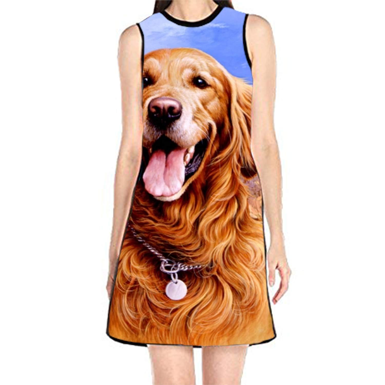 golden Retriever Painting4 MAYS Summer Sleeveless Printing Yellow Labrador Casual Party Women Girl Dress