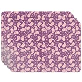 Love Dance Of The Paisleys Placemat Set of 4 Vinyl Easy Clean Heat Insulation Stain-resistant