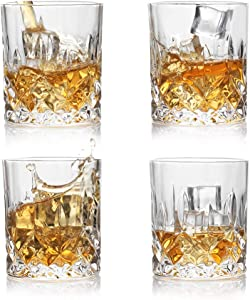 Sweejar Whiskey Glasses Set of 4(8 oz) Large Rock Glasses-Best Whisky Tumbler for Scotch,Bourbon,Old Fashioned Cocktails,or Bar Drinks