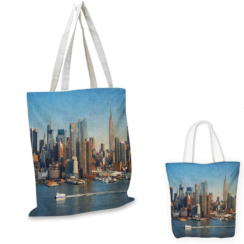 Urban canvas messenger bag Manhattan Sunset Skyline Famous New York Cityscape High Rise Buildings Skyscrapers canvas beach bag Multicolor 14x16-11