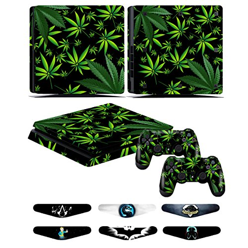 PS4 Slim Controller Skins- Decals for Playstation 4 Slim Games - Stickers Cover for PS4 Slim Console Sony Playstation Four Accessories with Dualshock 4 Two Controllers Skin - Weeds Black (Ps4 Controller Skin Weed)