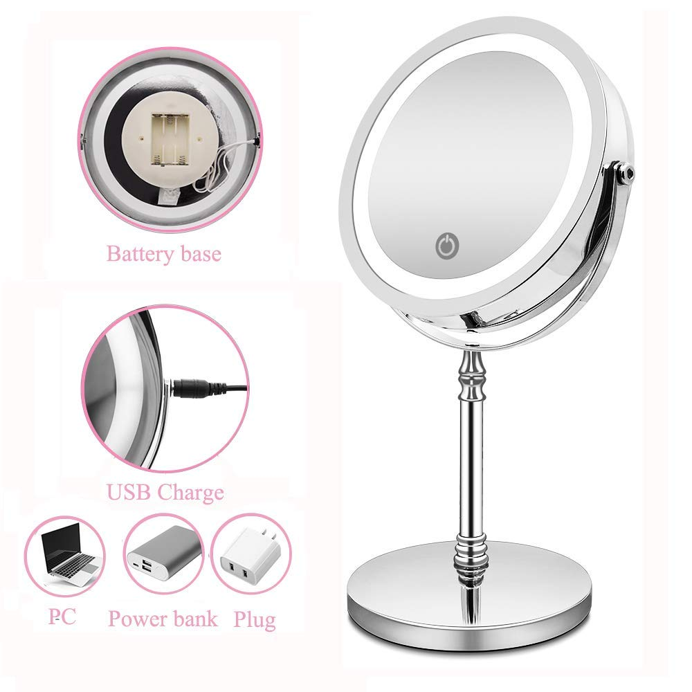 Double Sided 360 Rotation Polished Chrome Finish Shipped from USA BRIGHTINWD Magnifying Mirror with Lights Vanity Mirror with Lights Lighted Makeup Mirror 10X Magnification
