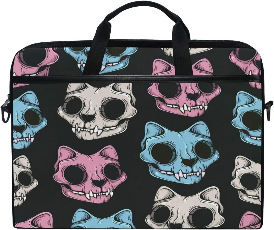 ALAZA Scary Cat Sugar Skull Pattern 15 Inch Laptop Case Shoulder Bag Crossbody Briefcase for Women Men Girls Boys with Shoulder Strap Handle, Back to School Gifts