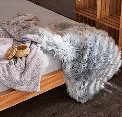 Chanasya Super Soft Faux Fur Fake Sheepskin Gray Sofa Couch Stool Casper Vanity Chair Cover Rug/Solid Shag Area Rugs For Living Bedroom Floor - Slate Blue Gray 2ftx3ft