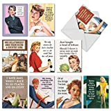 Women's Funny Retro Greeting Cards (Box of 10 w/ Envelopes) - Hilarious All Occasion Hot Mess Blank Note Cards for Women - Assorted w/ Vintage All-Occasion Quotes & Images (4 x 5.12 Inch) M6622OCB