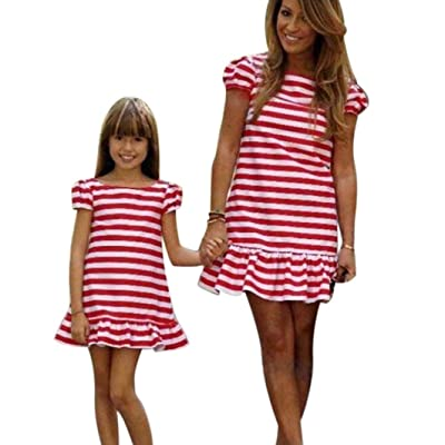 Qisc Parent-child Clothing Family Matching Clothes Outfits Mommy and Me Summer Stripes Printed Short Sleeve Beach Mini Dress 1pc