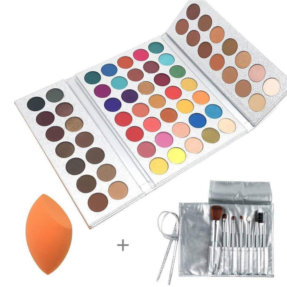 Beauty Glazed Eyeshadow Palettes + Makeup Brushes Set + Sponge Blender Pigmented 63 Pop Colors Matte Shimmer Metallic Blendable Soft Cream Powder Makeup Eye Shadow Palettes Cosmetics for Beginners