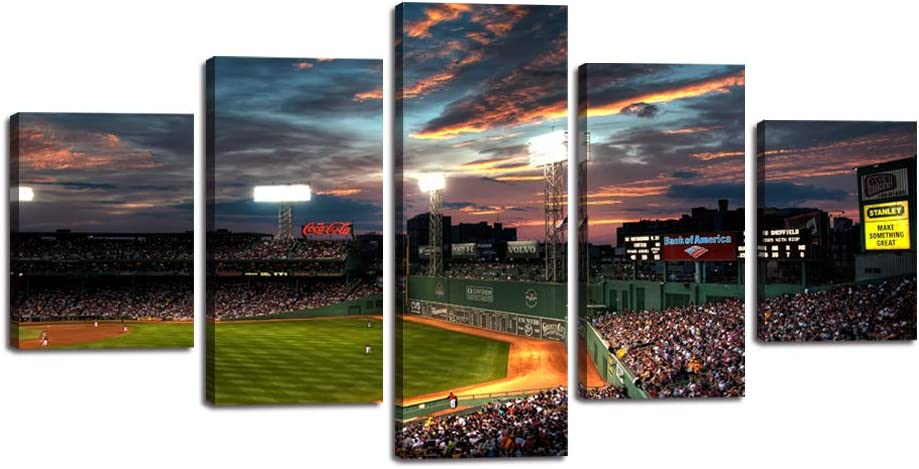 "5 Piece Canvas Wall Art Modern Fenway Park Painting Landscape Artwork Sports Game Picture Print for Living Room Office Home Decor House Warming Present Stretched Framed Ready to Hang (60""Wx32""H)"