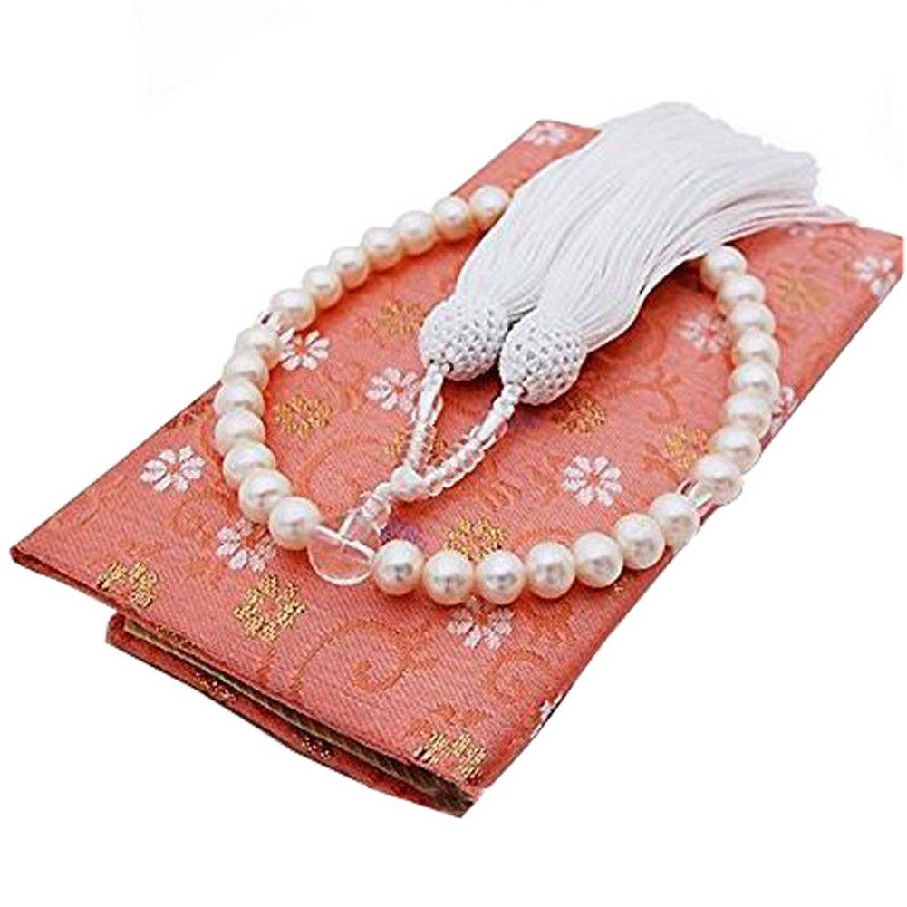 [enyapearl] 本真珠 数珠念珠 7.5mm8mm 淡水真珠 専用ケース付き 房の色 白 すべての宗派で使えます パール 念珠 数珠 7.5 B075GM2C4Z