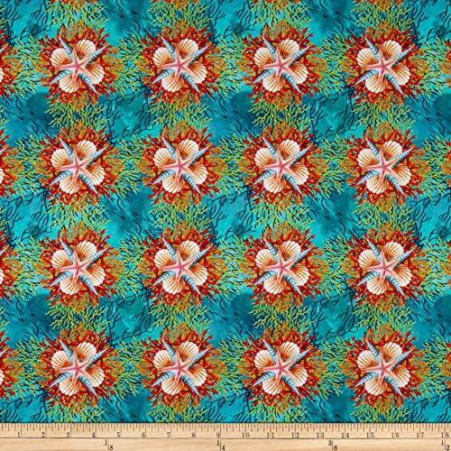 - In The Beginning Fabrics Calypso Shells Teal Fabric by the Yard