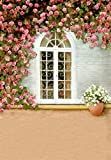 5x7FT Laeacco Vinyl Photography Background Backdrop Arched White Window Brick Wall Romantic Pink Rose Blossom Flowers Floor Outdoor Wedding Lovers Girls Baby 1.5(W)x2.2(H)m Photo Studio Props