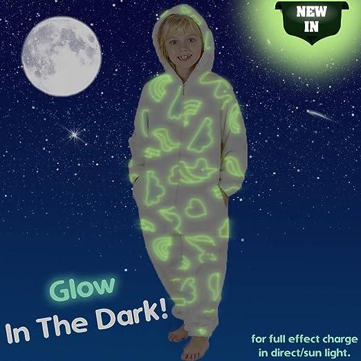 3f8afa0f96c Pijama Unicornio Niña Onesie Pijamas Niñas Entero Brilla en la Oscuridad  Glow in The Dark 3-14 ANS  Amazon.es  Ropa y accesorios