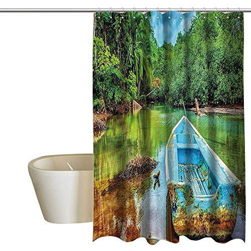 MaryMunger Landscape Shower stall Curtains Old Boat in Tropical River in National Park of Costa Rica Nature Photo Cool Shower Curtain W36 x L72 Green Brown and Aqua