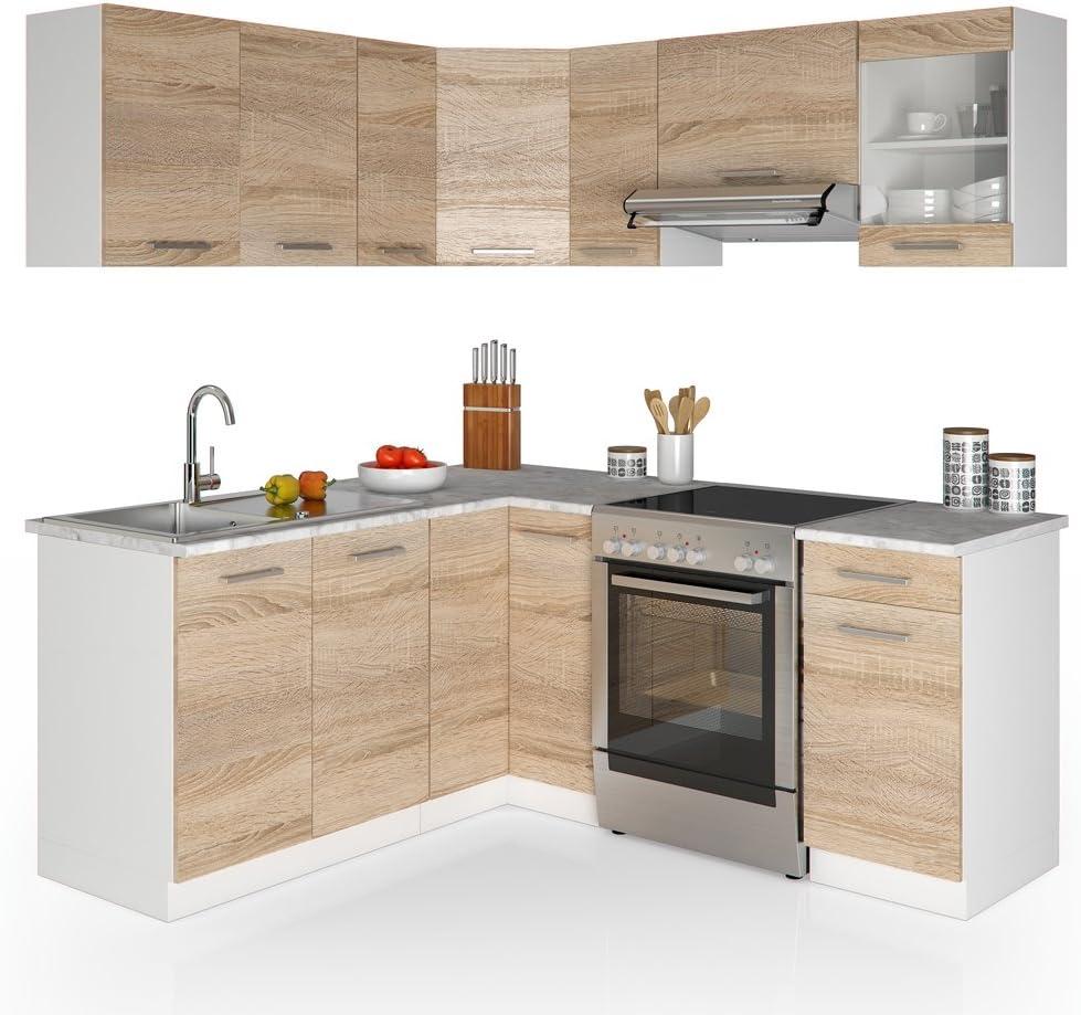 Vicco Cocina Rick en Forma de L Bloque de Cocina empotrable 167 x 187 cm Sonoma – Módulo de Muebles Libre de Combinar: Amazon.es: Hogar
